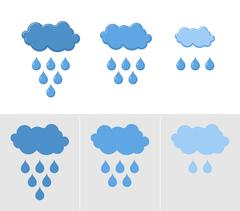 Clouds and rain. Set of icons for rain. Vector illustration for weather Stock Illustration
