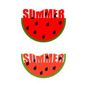 Summer logo. Piece of watermelon with word summer. Traces of teeth on a piece - stock illustration