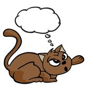 cat with thought bubble - stock illustration