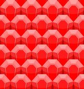 Ruby seamless pattern. Vector background of Red gems. Stock Illustration