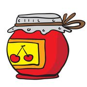Cherry jam jar Stock Illustration