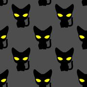 Black cat with yellow eyes at night seamless pattern. Vector background of pe - stock illustration
