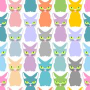 Color cat seamless texture. Pattern of cute cats. Pet background for fabric. - stock illustration