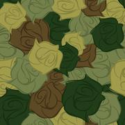 Rose army seamless pattern. Military texture of flowers. Vector flower protec - stock illustration