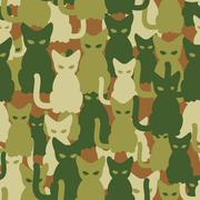 Military texture of cats. Army seamless pattern from pets. Protective camoufl Stock Illustration