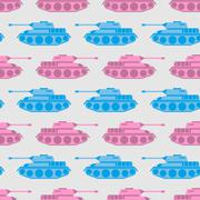 Toy tank seamless pattern. Blue and pink military toys. Vector ornament for b - stock illustration