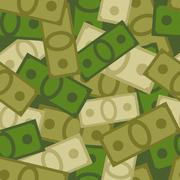 Military seamless pattern of money. Soldiers background from Dollars. Vector  - stock illustration