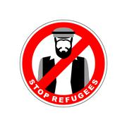 Ban immigrants. Stop refugee. Red Forbidding character. Syrian Man in nationa - stock illustration