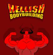 Hellish bodybuilding. Satan with big muscles. Fitness in hell. Strongman from Stock Illustration