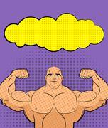 Bodybuilder pop art with bubble. Vector illustration for retro comics. Athlet - stock illustration