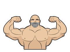 Bodybuilder on a white background. Athlete with big muscles. Big brutal men w - stock illustration