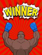 Winner in style of pop art. African American boxer wearing blue boxing gloves - stock illustration