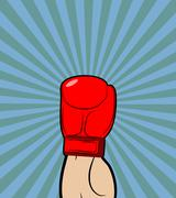 Hand in Boxing Glove. Winner, boxing champion raised his hand up-a symbol of  Stock Illustration