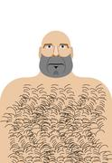 Man with bald head. Hillbilly with hairy chest. Vector illustration of funny  - stock illustration