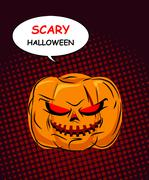 Scary Halloween. Horrible Pumpkin with red eyes symbol of holiday. Hellish Ve Stock Illustration