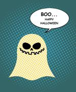Boo Happy Halloween. Ghost of pop art and bubble. Pretty good ghost symbol of - stock illustration