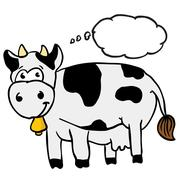 cow with thought bubble - stock illustration