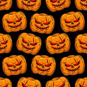 Scary pumpkin seamless pattern. Background for Halloween. Vector ornament for Stock Illustration