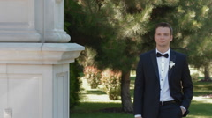 Bride and groom come towards each other Stock Footage