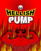 Hellish pump. Satan bodybuilder with huge muscles. Workout with the devil in  - stock illustration