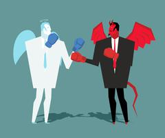 Battle heaven and hell. Angel and demon combat. Satan and angel are boxing. w - stock illustration