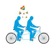 Gays in tandem. Two blue men on bicycle. Lovers of cycling. Joint walk. Roman Stock Illustration