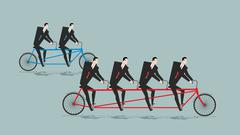Business team on tandem. Long bike. Many managers. Large company ahead of sma - stock illustration