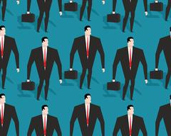 Businessman at work seamless pattern. Manager Casey ornament. Man in black su - stock illustration