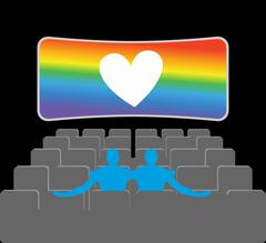 Gays in theater. Two blue men in cinema hall. Places for kisses on last row.  Piirros