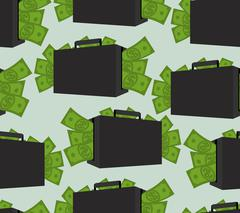 Suitcase with money seamless pattern. Case with cash ornament. Texture of man Stock Illustration
