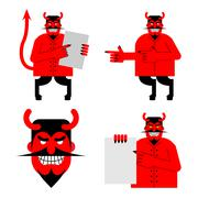 Set satana and devil. Daemon in different poses. Scary red demon shows blank. - stock illustration