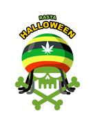 Rasta Halloween Night. Skull addict with dreadlocks and bones. Colored Rasta  - stock illustration