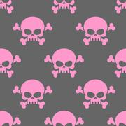 Pink skull on a grey background seamless pattern. Head of  skeleton and bones Stock Illustration