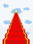 Stairway to paradise. Red carpet into sky. Gates of paradise. Doors in  cloud Stock Illustration