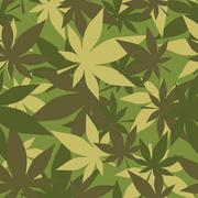 Military texture of marijuana. Soldiers camouflage hemp. Army seamless backgr - stock illustration