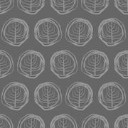 Decorative seamless pattern drawings of circles. Grey trees on a dark backgro - stock illustration