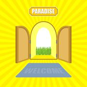 Welcome to paradise. Open gates of paradise gardens. Mat in front of door. Vo - stock illustration