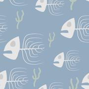 Fish skeleton seamless pattern. Vector background sad, doomed fish and algae. Stock Illustration