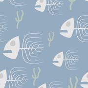 Fish skeleton seamless pattern. Vector background sad, doomed fish and algae. - stock illustration