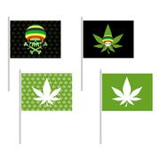 Rasta flags set. Banner for addicts of Jamaica. Green Skull and leaf marijuan Stock Illustration