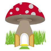 Mushroom with door open. Amanita House for a dwarf, Hobbit. Vector illustrati Stock Illustration