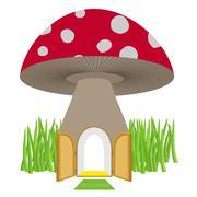 Mushroom with door open. Amanita House for a dwarf, Hobbit. Vector illustrati - stock illustration