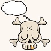 cute skull with golden tooth and thought bubble - stock illustration