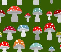 Toxic Amanita mushrooms seamless background. Mushrooms seamless pattern. Retr - stock illustration