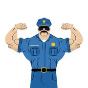 Strong power police officer. large man in police uniform. Bodybuilder with mu Stock Illustration