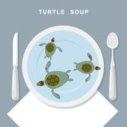 Turtle soup. Sea turtles swim in plate. Exotic popular Food top view. Cutlery Piirros