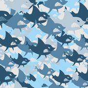 Shark military seamless pattern. Army background of fish. Soldier camouflage  Stock Illustration