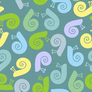 Silhouette  snail with spiral shell. Vector seamless texture. - stock illustration