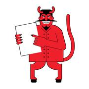 Devil and  contract.  Scary Mephistopheles offers deal to sign in blood. Red  Stock Illustration
