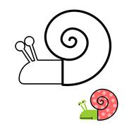 Snail coloring book. Gastropoda clam with spiral shell. Vector illustration Stock Illustration